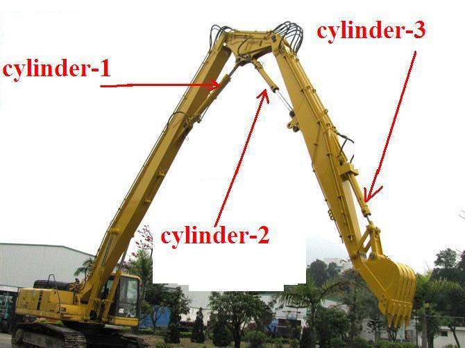 3 Segment  Demolition Long Reach Excavator Booms , High Reach Arm