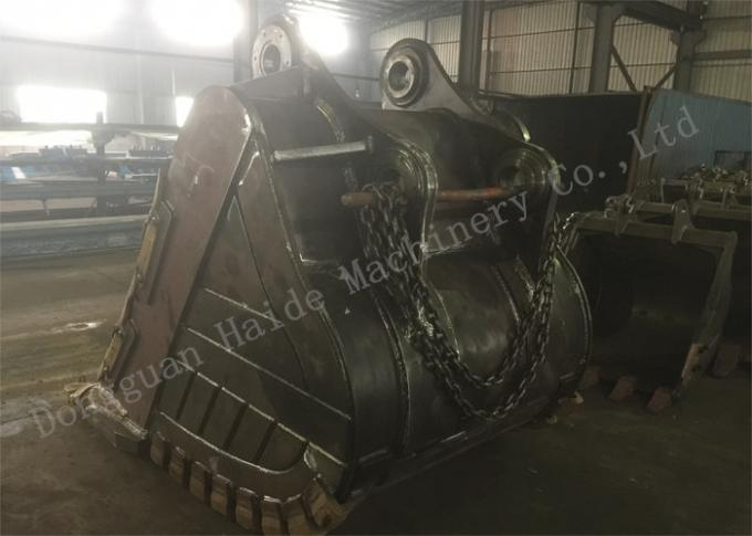Yellow Mining Excavator Rock Bucket Deepth 1380mm With Hardox Material
