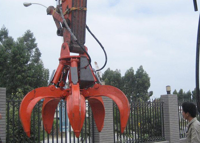 5 Cylinders Excavator Grapple , Hydraulic Orange Peel Grapple